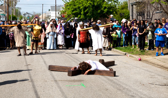 Lolek Hits the Streets to Film Live Stations of the Cross